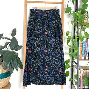 Sinerji Black Coloured Patterned Long Skirt
